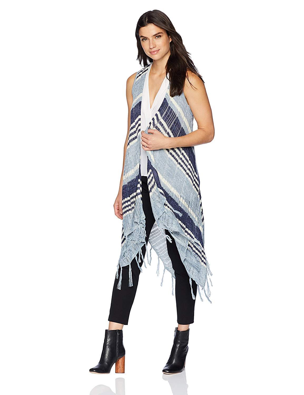 06d17d0e70381 Get Quotations · OneWorld Women s Sleeveless Stripe Fringe Sweater Vest