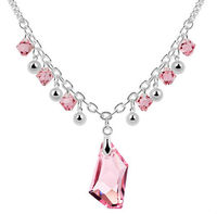 pink crystal charms necklace australian crystal necklace for wedding silver jewelry