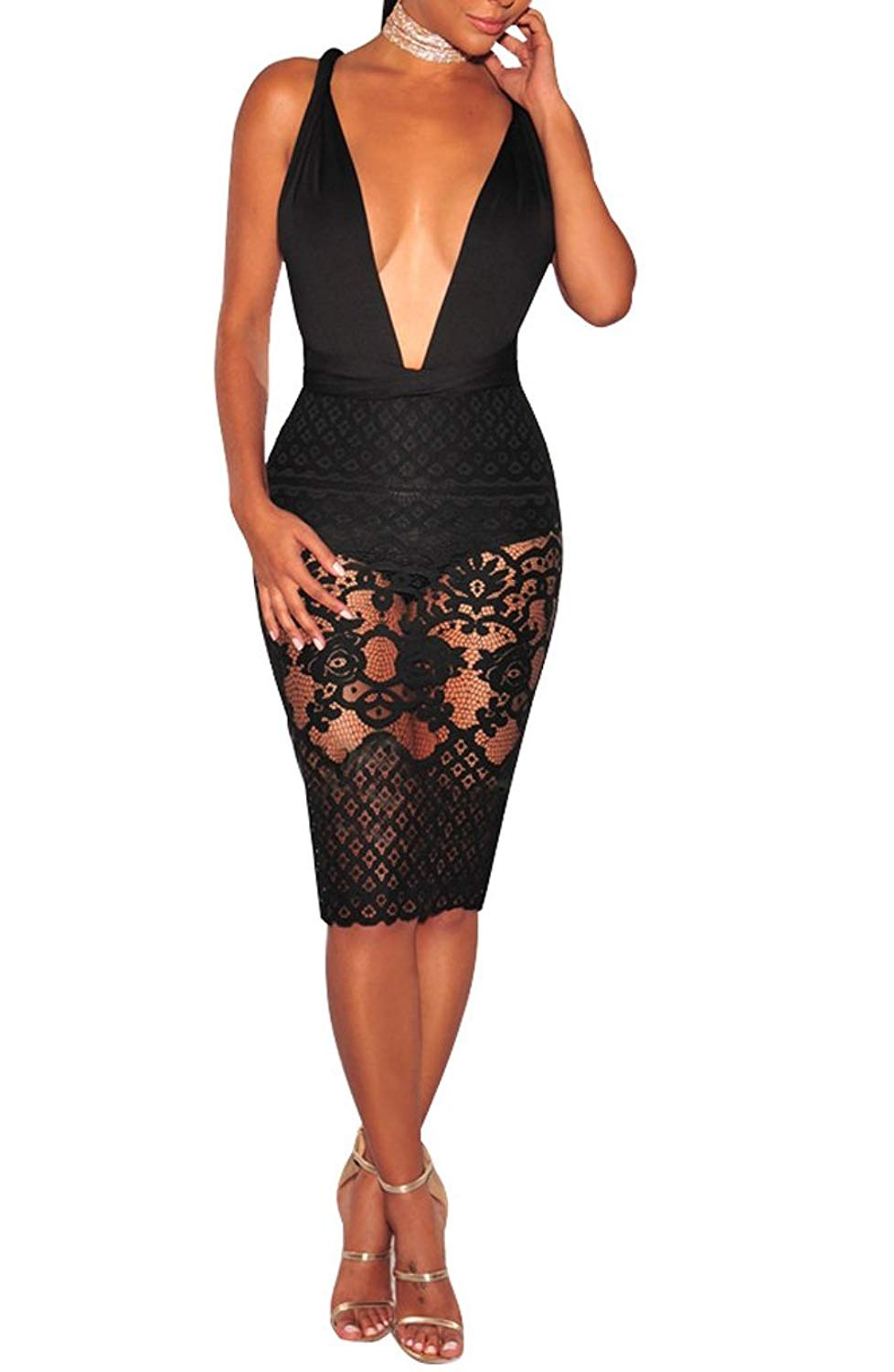 91aded7b3120 Get Quotations · sexycherry Women Boho Bodycon Sexy Lace Floral Halter  Strap Deep V Neck Evening Club Mini Dress