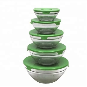 Glass Drinkware Type and Eco-Friendly Feature glass fruit salad bowl set of 5 pcs for food container with lids