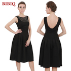 Latest Women's Sundress Design Beaded Black Evening Short Dress