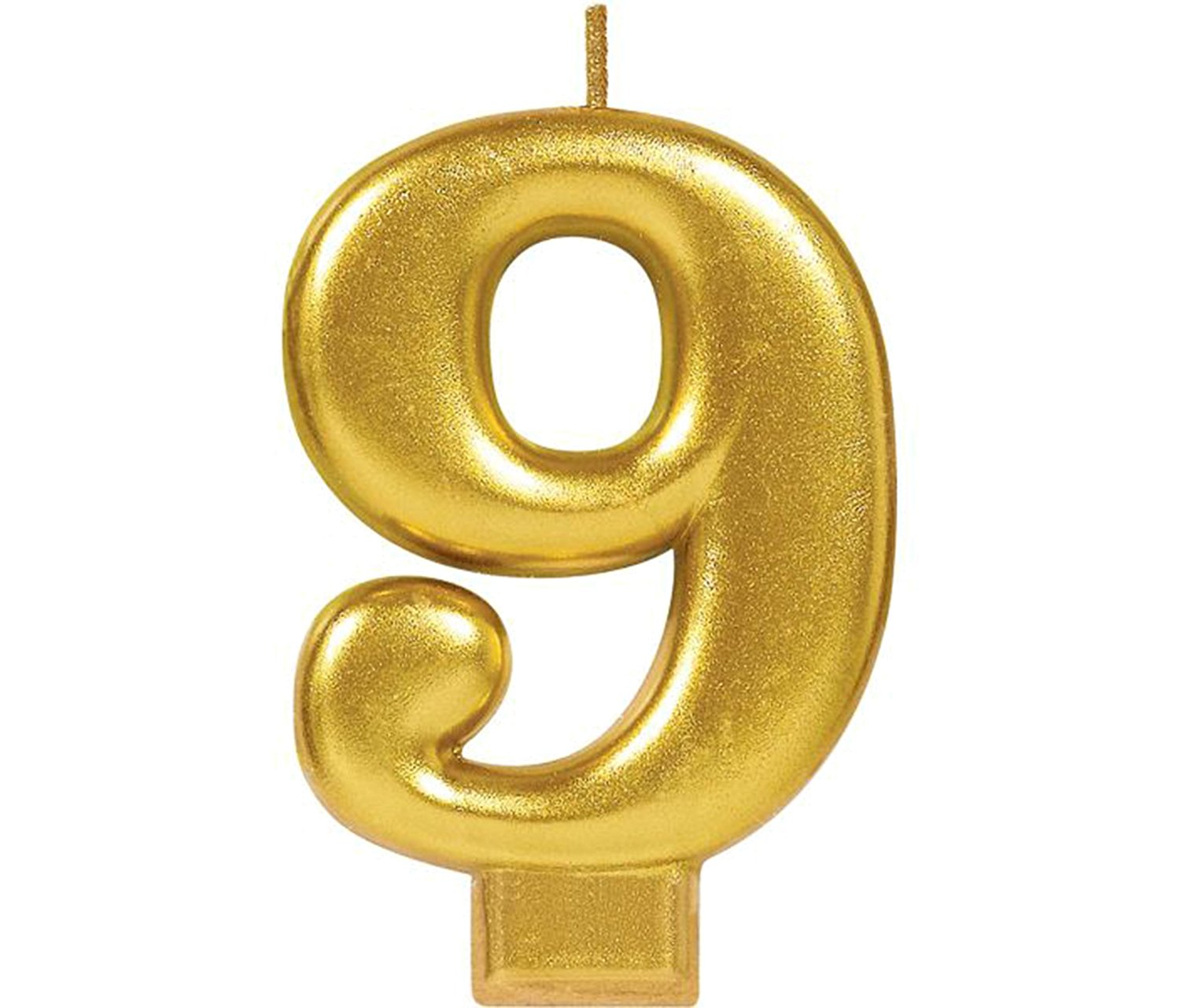 Mozlly Multipack - Amscan Gold Metallic Number 9 Birthday Candle - 3.25 inch - Gold Themed Birthday, Anniversary Parties - Novelty Party Supplies (Pack of 6)