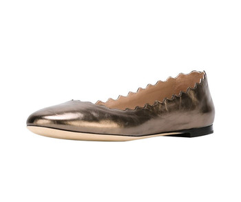 7bdc76c9ed87c Amazon Women Shoes Gold Classic Round Toe Scalloped Top Line Leather Ballet  Flats - Buy Flat Shoes,Ballet Flats,Women Flats Product on Alibaba.com