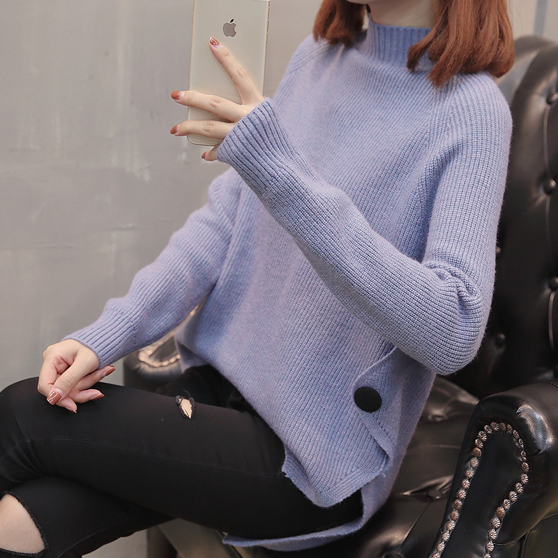 Promotion high neck custom fit woman solid color knitted jumper фото