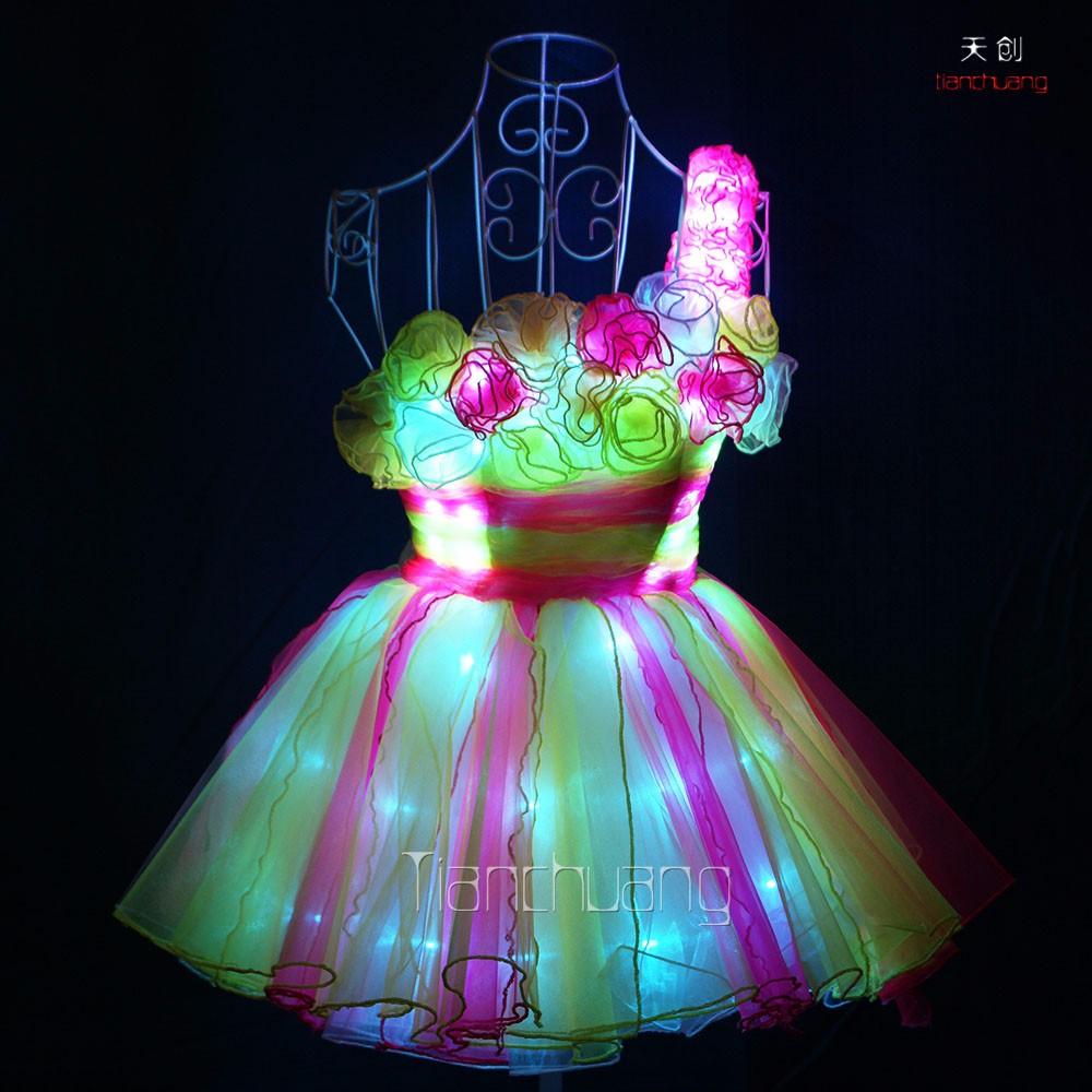 Super Cute One Shoulder Flower Bra Shirt Led Luminous Light Up Dress Rose Product On