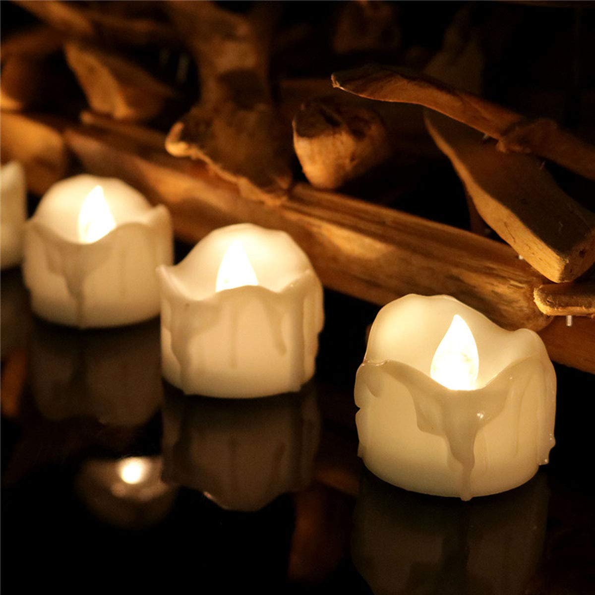 Dellukee Wholesale Flameless Candles Lot with Timer Drop Tear Realistic Bright LED Tealights Candle for Wedding Birthday Party Decoration, 44 X 24 Pack, Electric Fake Candle in Warm White