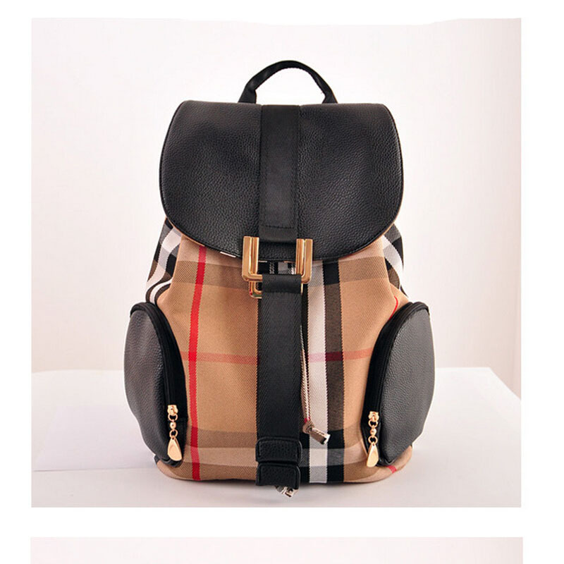 S8311 New 2015 fashion British style school bag women nylon backpack plaid Waterproof canvas Travel bag Draw string backpack