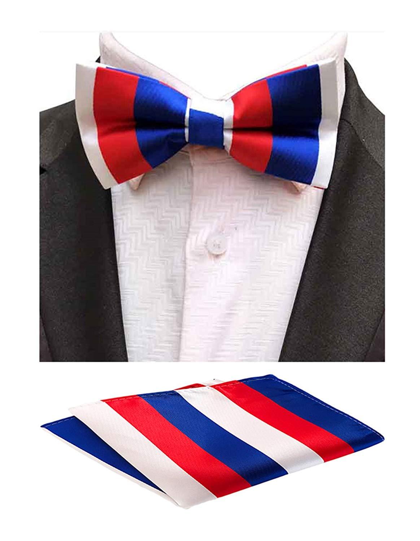 1316fd9922bb Get Quotations · MOHSLEE Men Colorful Stripe Pre-Tied Bowtie Party Suit Bow  Tie Pocket Square Set