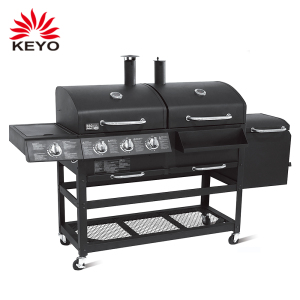 Outdoor Kitchen Cooking Charcoal Gas 3 Burners Gas Smoker Grill Machine large gas bbq grills