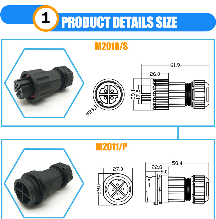 high current 12v male and female ip67 waterproof dc power connector