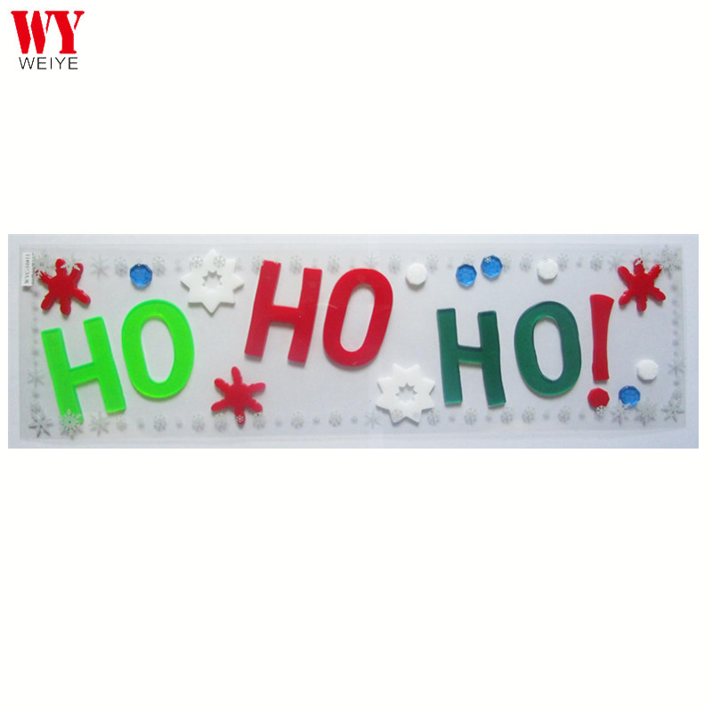 Aangepaste 3D Brief HO Gel Window Cling Sticker Voor Kerst Decoratie