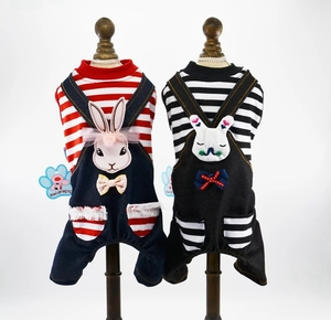 Small Dog Cotton Striped Jumpsuits Pet Clothes For Cartoon Rabbits