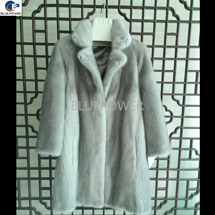 Top quality plus size pelt mink fur long ladies coat with half sleeves
