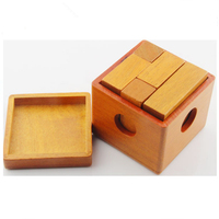 Eco-Friendly Wooden Toy Wholesale IQ Training Lock Puzzle Brain Practice Blocks Set With Box Good Gift For Kids & Adults