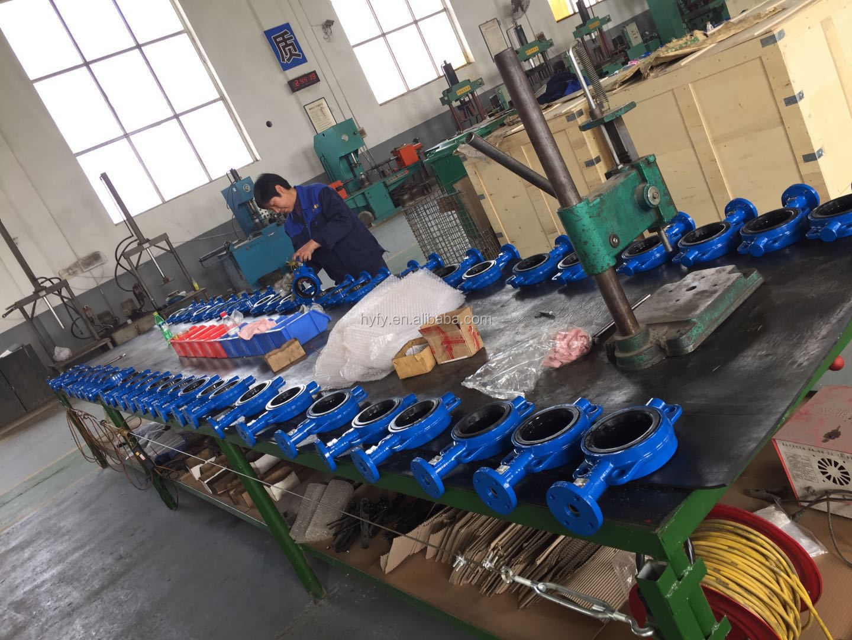 Segel Kedap Udara Iron Casting Nylon Anti Korosi Manual Operasi Butterfly Valve