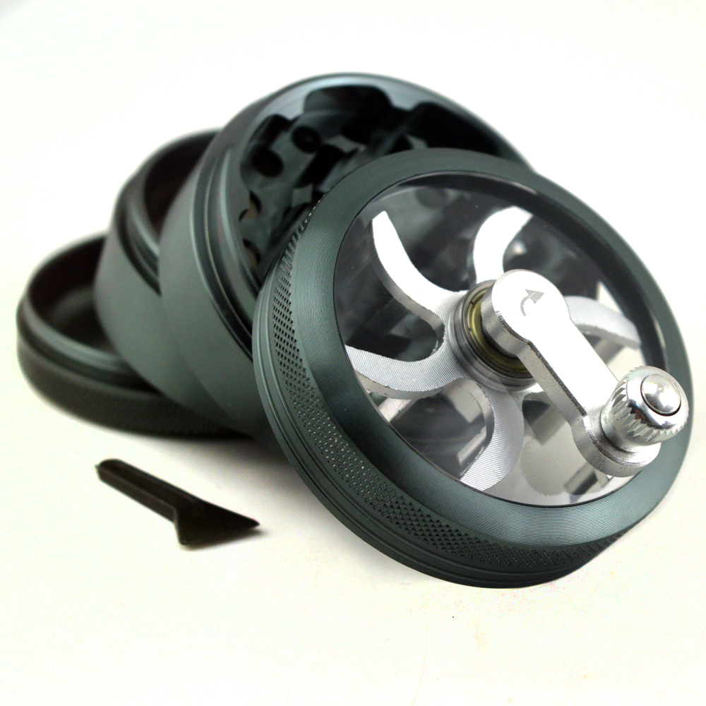 Aluminium 4 Layer 40mm Grinder Hand Crank Mill Crusher for Tobacco Herb Herbal S