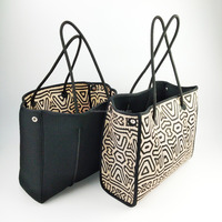 Fashion OEM/ODM high quality perforated leopard neoprene tote bags