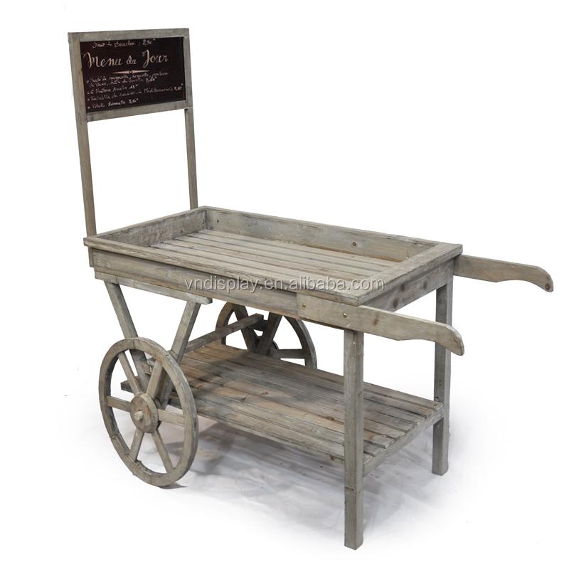 Antique Garden Cart , Wooden Garden Cart , Flower Pot Cart , Wood Flower  Pot Rack