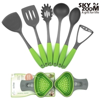 Standard basic kitchen tools and equipment with bright green handle