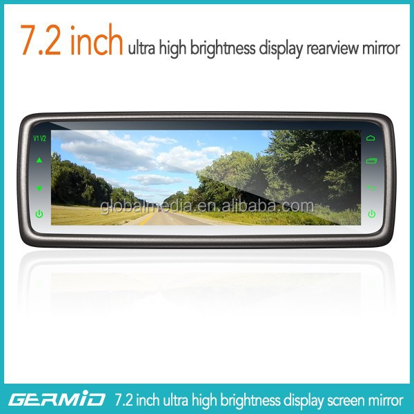 latest super big screen car rear view mirror with 7.2 inch monitor and car backup camera
