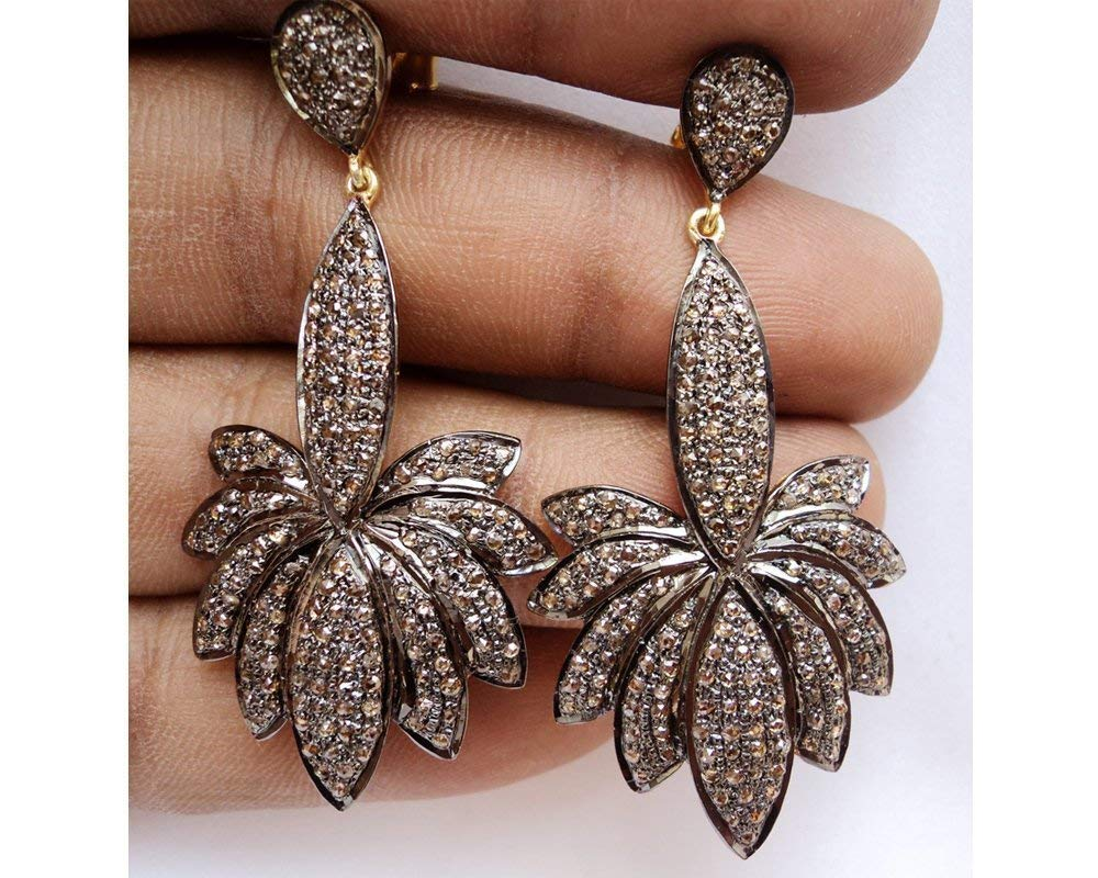 Unique Design Oxidized Silver Diamond Earrings - Pave Rose Cut Diamond 925 Sterling Silver Danglers Earrings - 14K Gold Plated Diamond Earrings