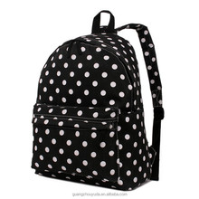 E1401 Ladies and Men Dot Print Unisex Canvas A4 School Travel Backpack Rucksack Shoulder Bag