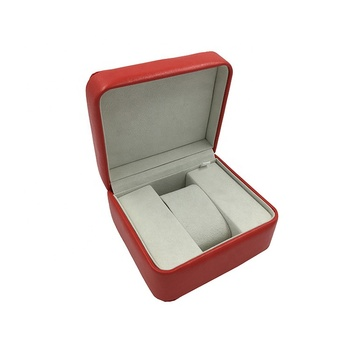 High grade red pu leather custom storage jewelry watch leather box