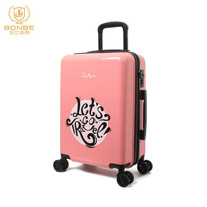 Fashion Design Spinner 360 Wheels Zipper Type Plastic Printed Hard Shell Luggage Two Pieces Set