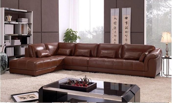 Leather Corner Sofa Set: Living Room Sectional Leather Corner Sofa, Classic L