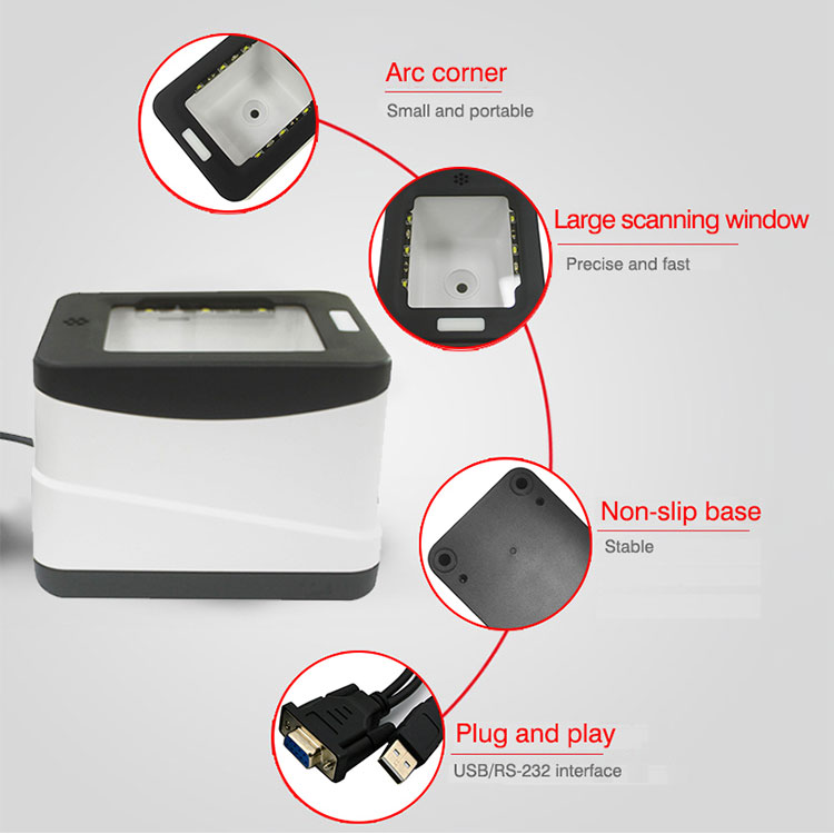 Mobile Payment Box 2D Barcode Reader Rs232 / Usb Qr Code Scanner For Ali / Wechat Pay HS-2001B