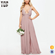 New fashion sexy women pink pleated weddings bridesmaid dresses long