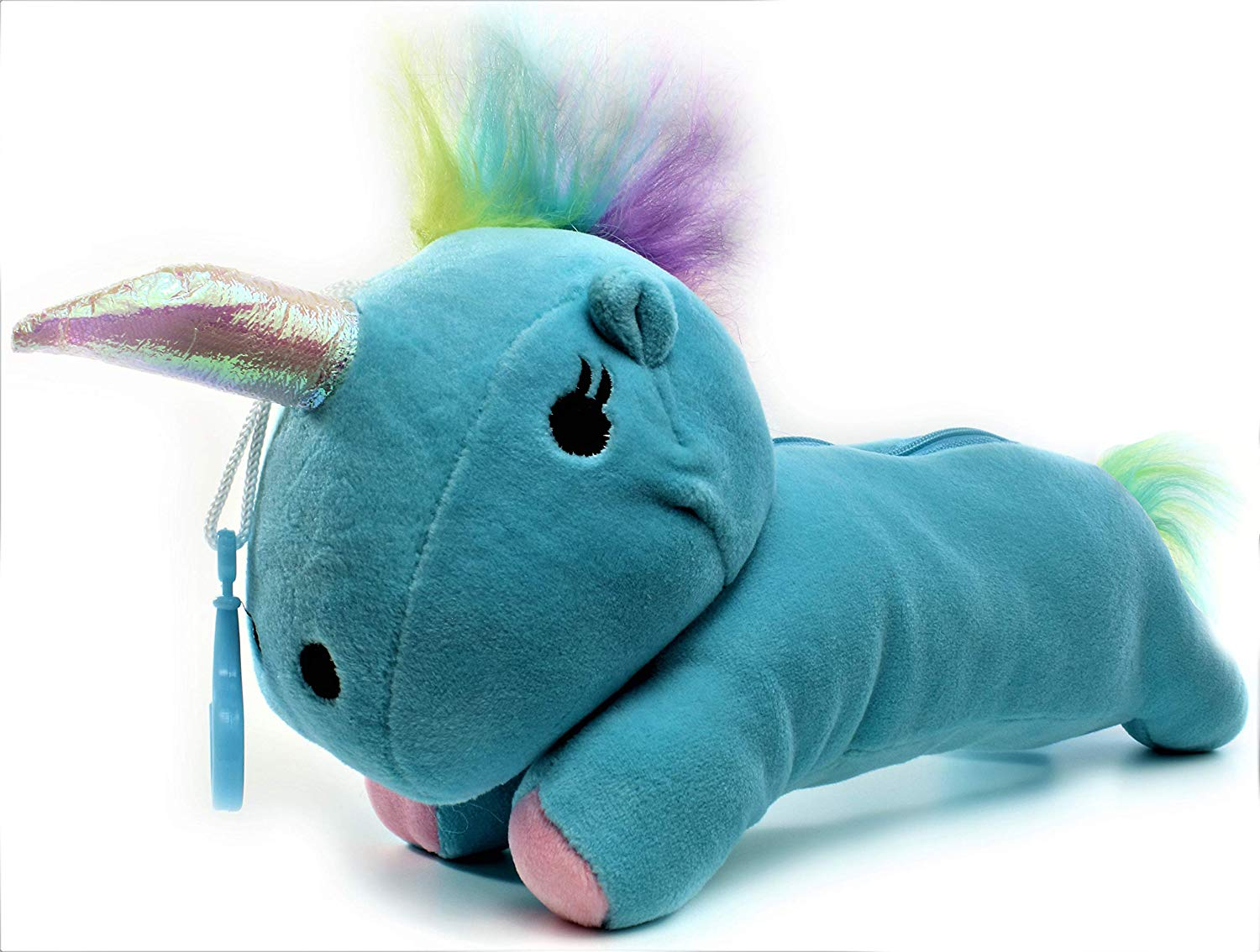 Unicorn Plush Toy Pencil Case Cute Animal Cartoon Bag Pouch Stationery for Kids, Girls, Boys, Teens (Blue)