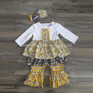 remake yellow children's clothing baby ruffle wear baby girl clothes romper