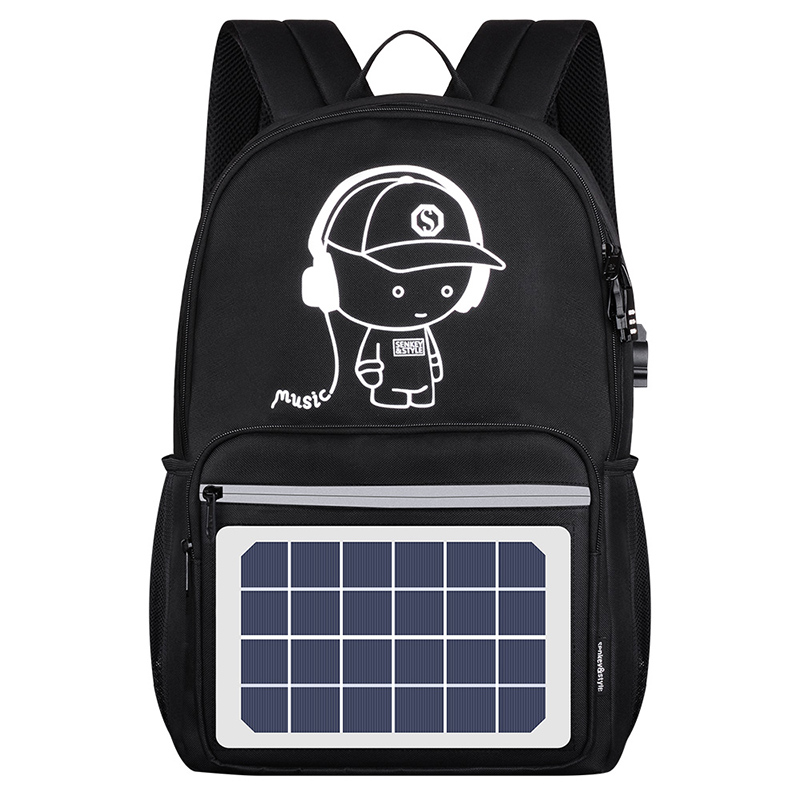 Hot sale luminous leisure school solar power panel <strong>backpack</strong> solar battery charge <strong>backpack</strong>
