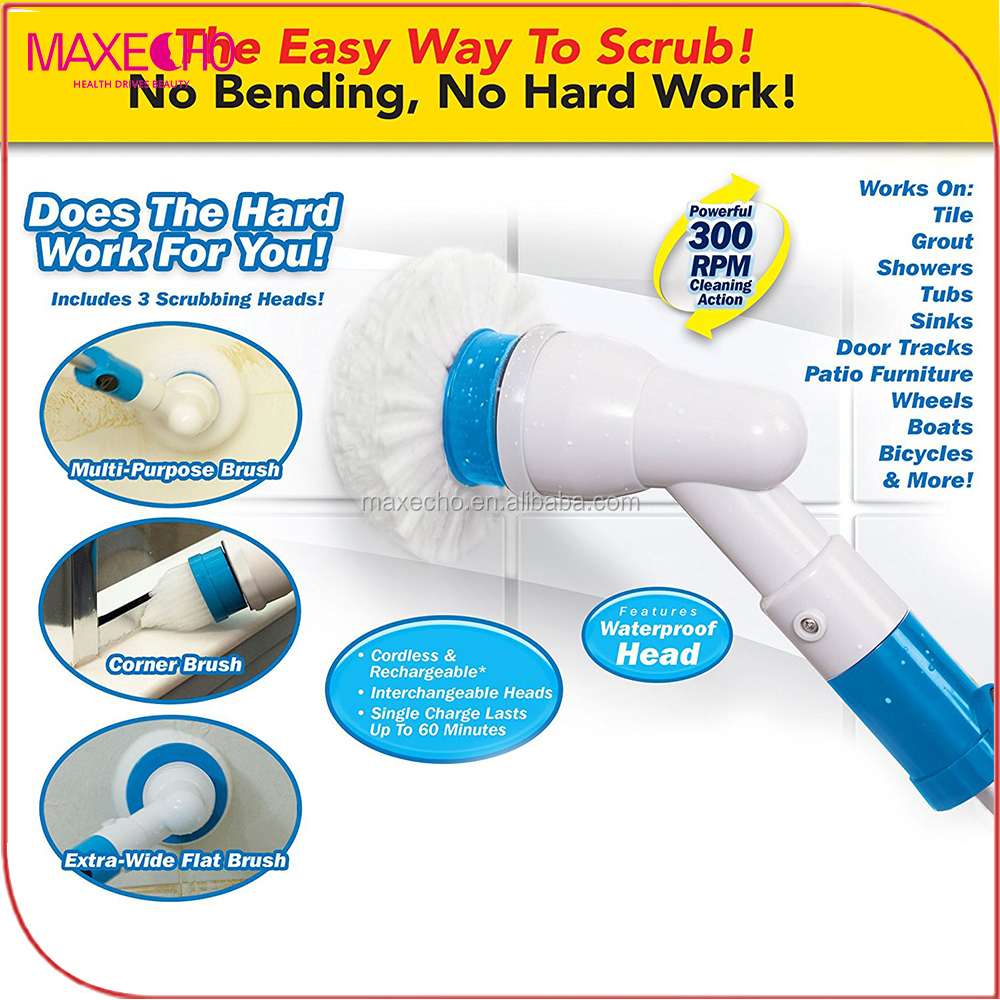 MAXECHO Power Spin Scrubber Cleaning Brush - Deluxe Electric Scrubber with 3 Brush Heads, Extension Pole & Rechargeable Battery