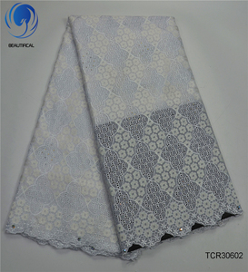 Beautifical Hot sale white cotton dry lace fabric african swiss voile lace with stones for wedding dress 5yards TCR306
