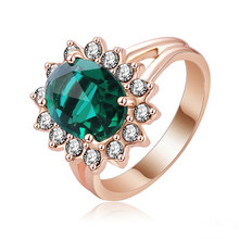 Fashion New 2015 Princess Elegent Emerald Rings 18K Rose Gold Plated with AAA Cubic Zirconia Cocktail