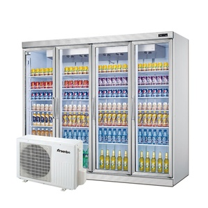 Large commercial upright display showcase freezer 4 glass door refrigerator used for supermarket