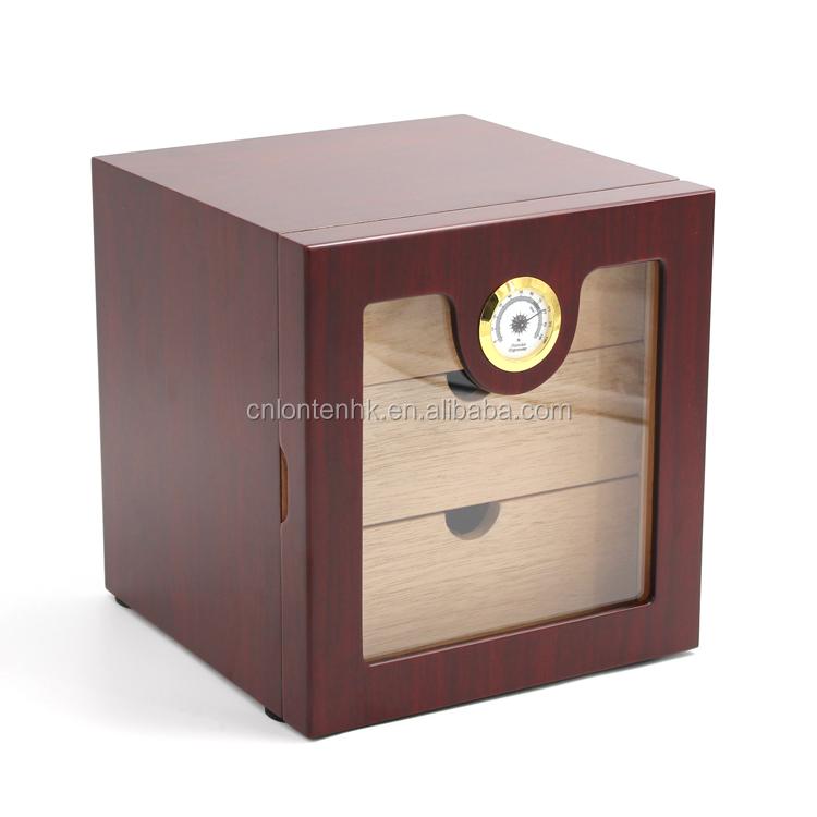 Three drawer wanut display wooden cigar cabinet фото