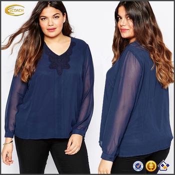 cbd6412408a Ecoach fashion chiffon fabric blue fat women long sleeve v neckline casual  chiffon blouse
