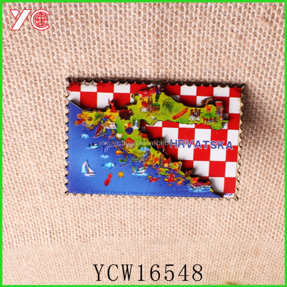 Custom Wood Fridge Magnet Croatia Souvenir 3d Map Wooden Fridge Magnet