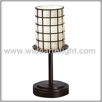 Ul cul listed metal wire cage black finish hotel hall table lamp ul cul listed metal wire cage black finish hotel hall table lamp with glass shade t40267 greentooth Images