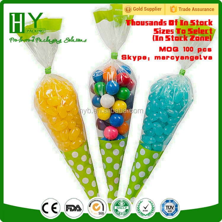 2017 yiwu cheap plastic bag cone shaped cello bags wholesale