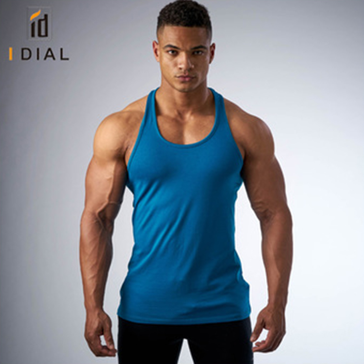 Wholesale plain Y back workout gym tank tops for men