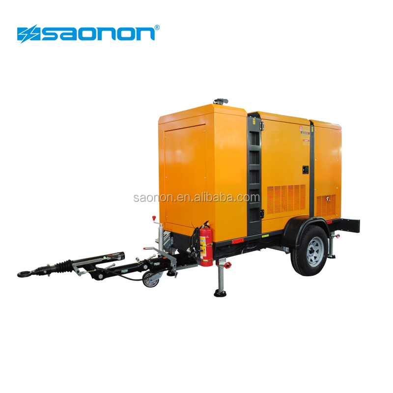 Four wheels 80kva generator in trailer with wheels and canopy