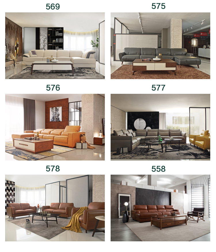 Modern living room furniture sets for apartments genuine leather sofa set