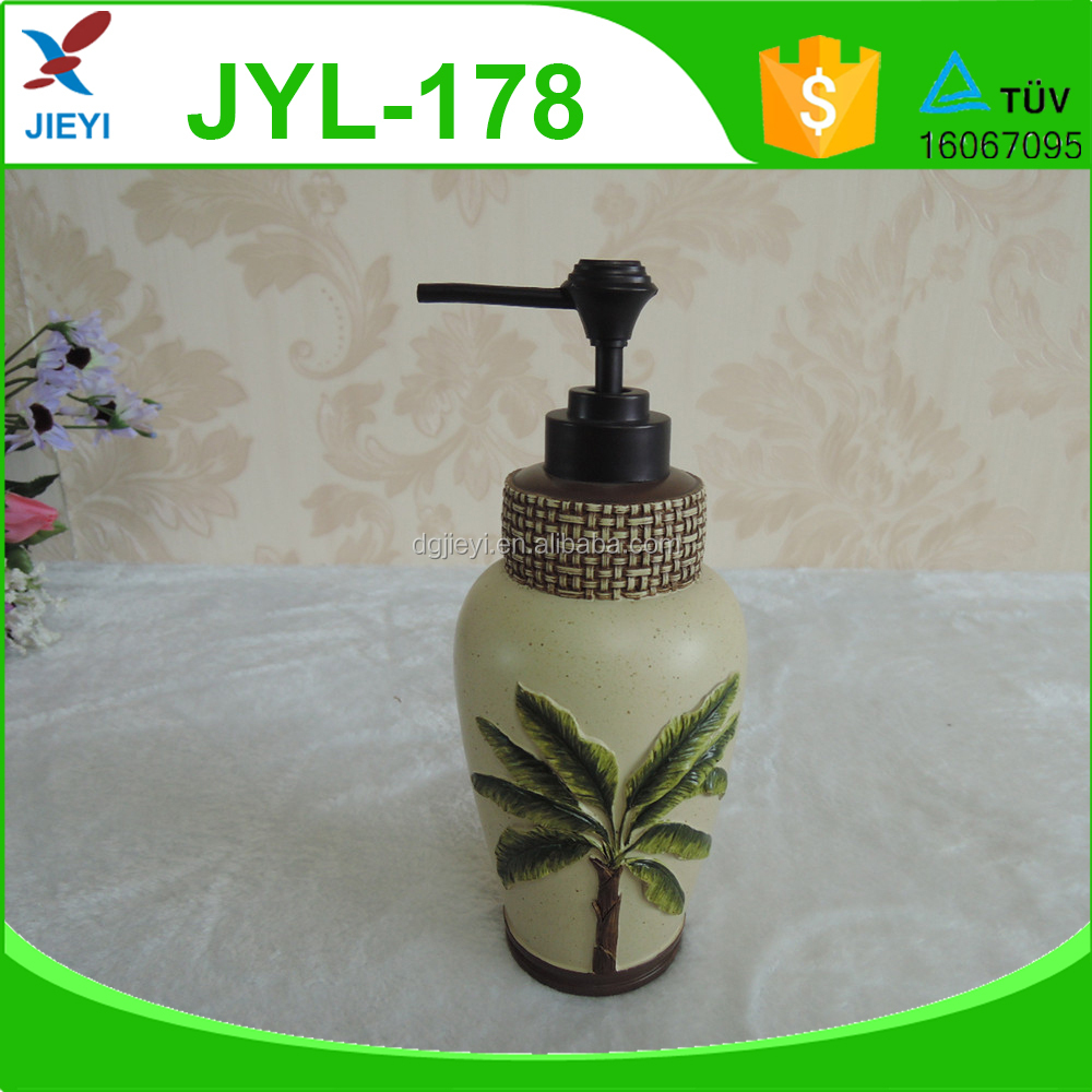 Popular holiday theme coconut palm resin shampoo lotion bottle