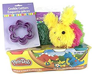 Play-doh Lovers Easter Basket Filler Bundle - Four Items: Pack of 4 Cans of Classic Play-doh (Nt Wt 20oz), 3 Flower Cookie Cutters (Sml, Med, Lrg), Rainbow Bunny Plush and Plastic Green Basket Grass