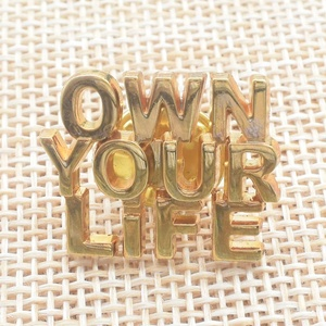 Casting Zinc Alloy Hollowed Letters Butterfly Clutch Attached Lapel Pin