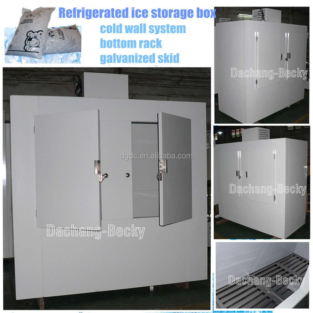 Refrigerated ice storage box with static refrigeration system